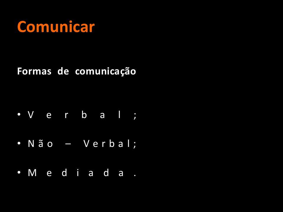 Comunicar Formas de comunicação Verbal; Não – Verbal; Mediada.