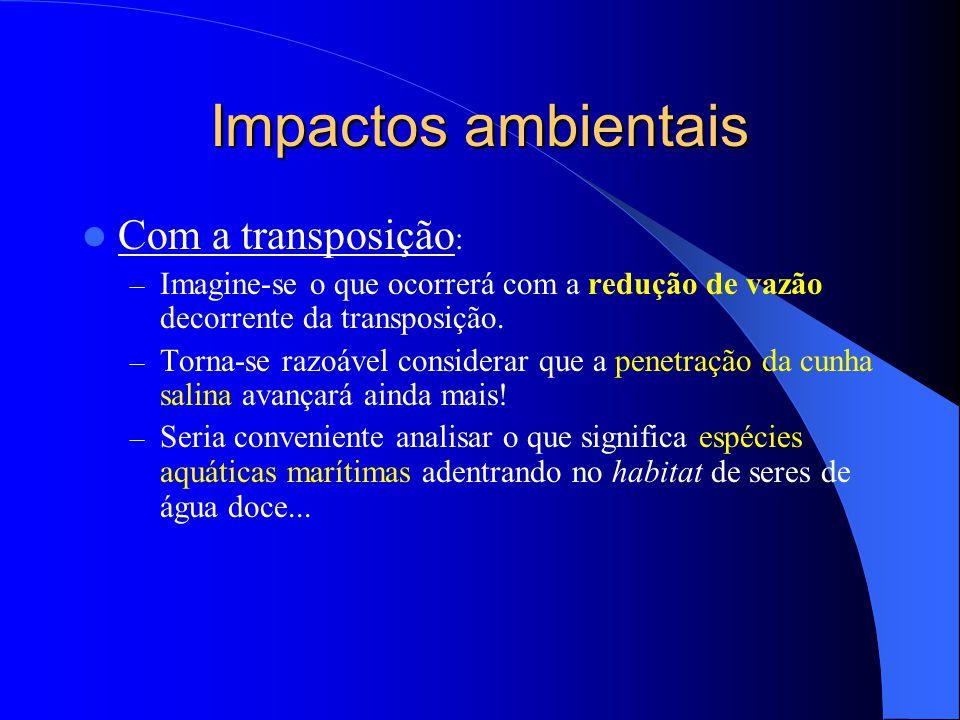 Impactos ambientais Com a transposição: