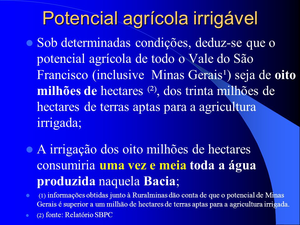 Potencial agrícola irrigável