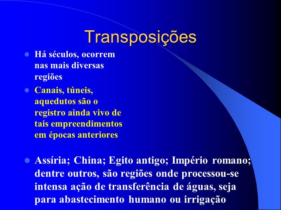 Transposições Há séculos, ocorrem nas mais diversas regiões.