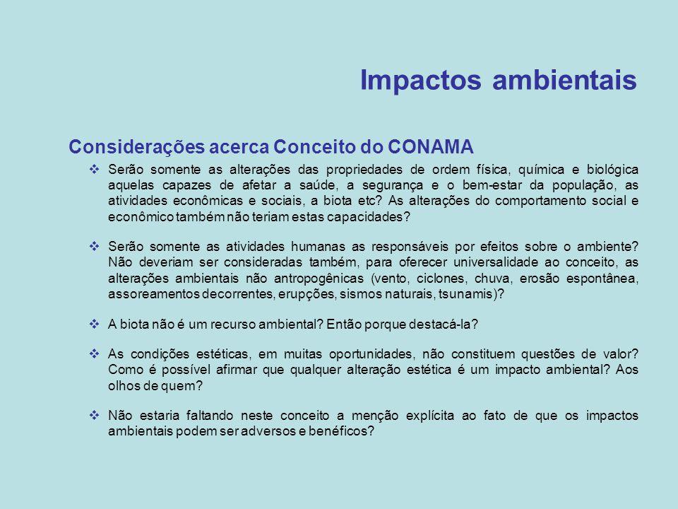 Impactos ambientais Considerações acerca Conceito do CONAMA