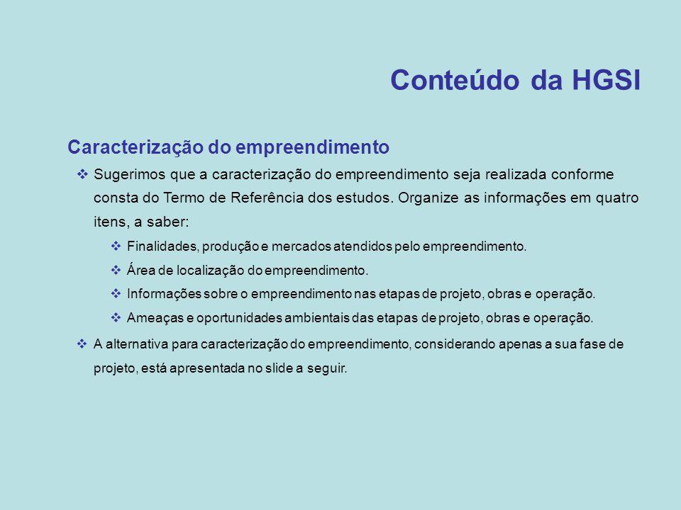 Conteúdo da HGSI Caracterização do empreendimento