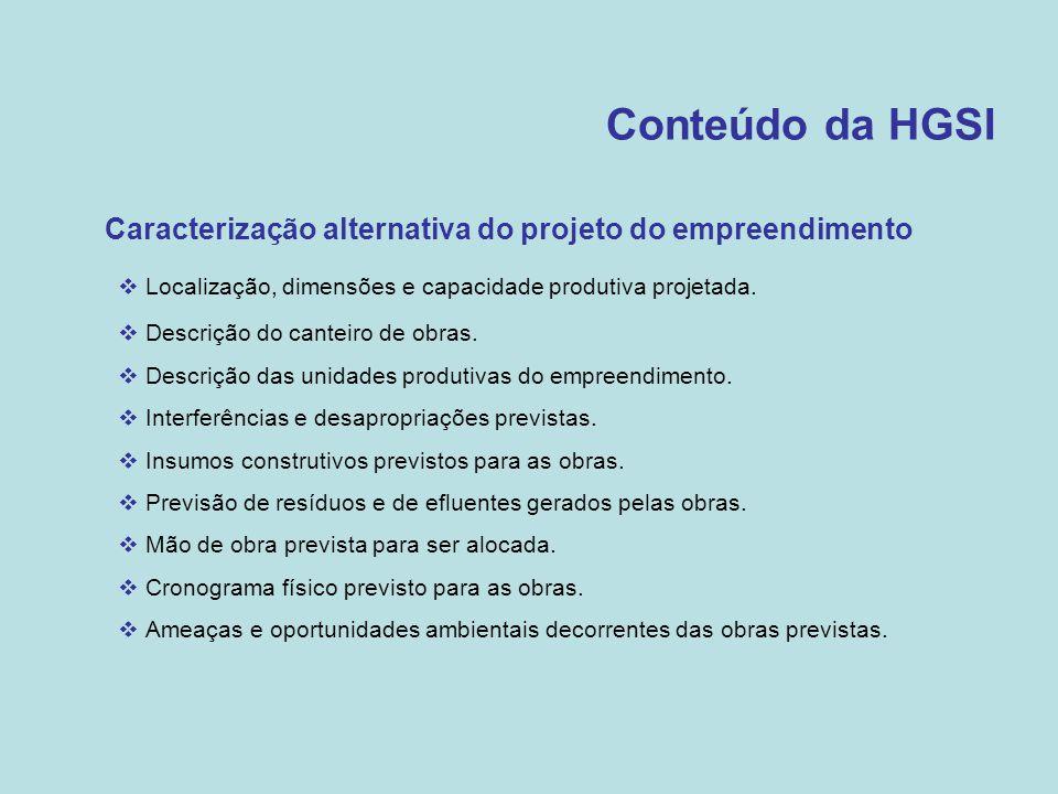 Conteúdo da HGSI Caracterização alternativa do projeto do empreendimento. Localização, dimensões e capacidade produtiva projetada.