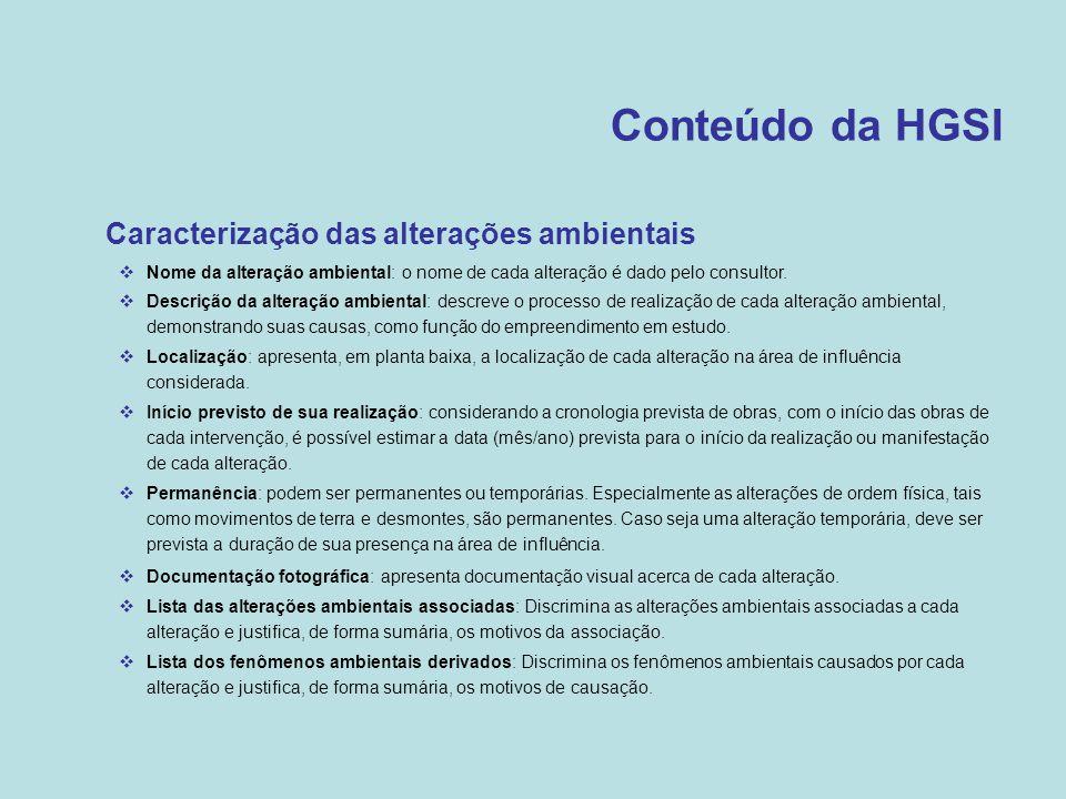 Conteúdo da HGSI Caracterização das alterações ambientais