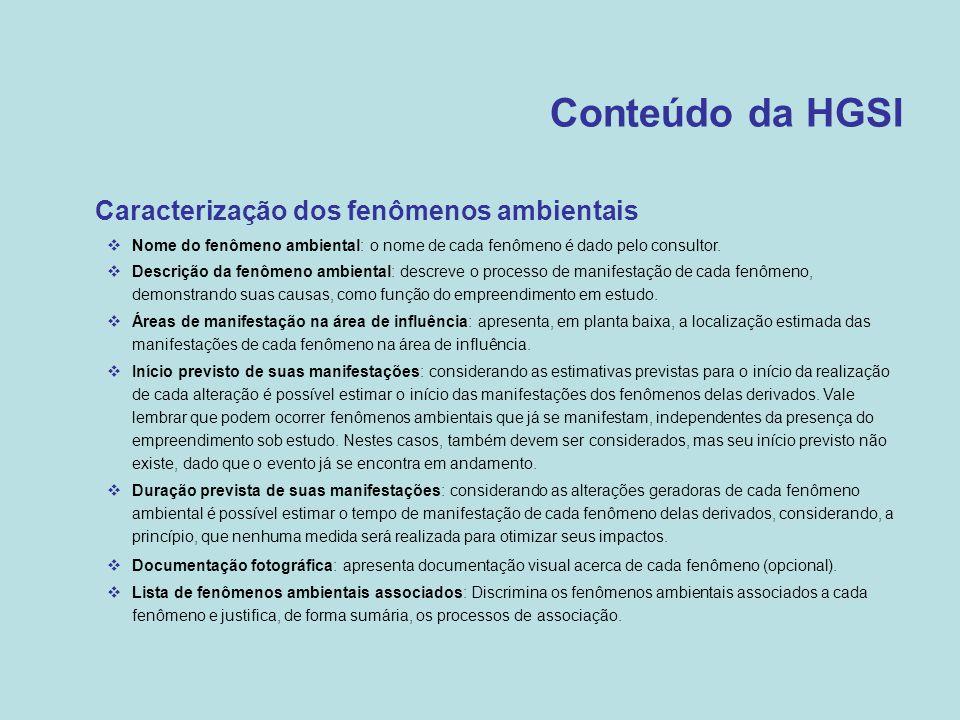 Conteúdo da HGSI Caracterização dos fenômenos ambientais