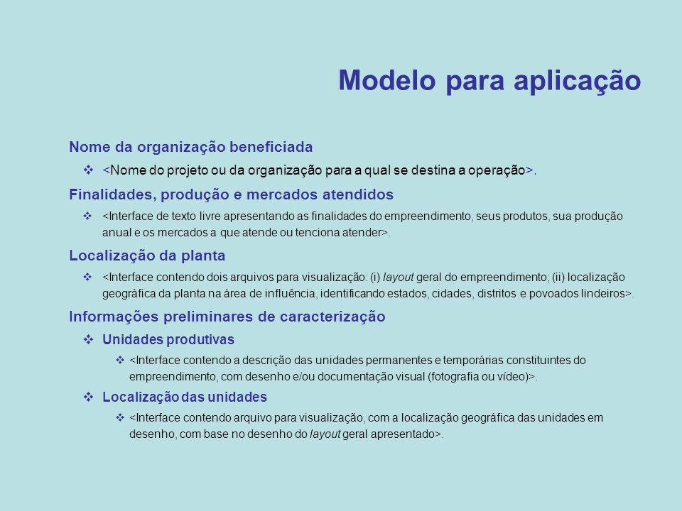 Modelo para aplicação Nome da organização beneficiada