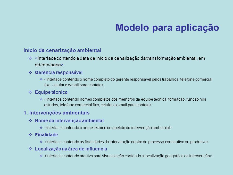 Modelo para aplicação Início da cenarização ambiental