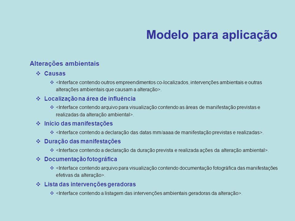 Modelo para aplicação Alterações ambientais Causas