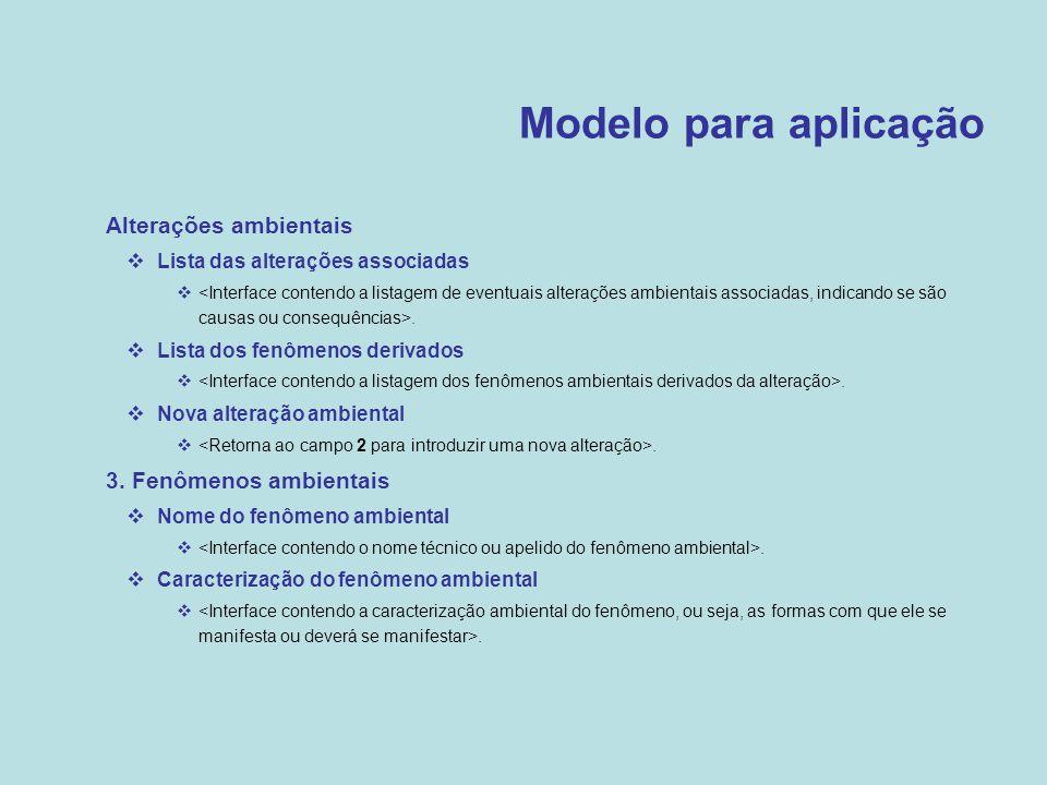 Modelo para aplicação Alterações ambientais 3. Fenômenos ambientais