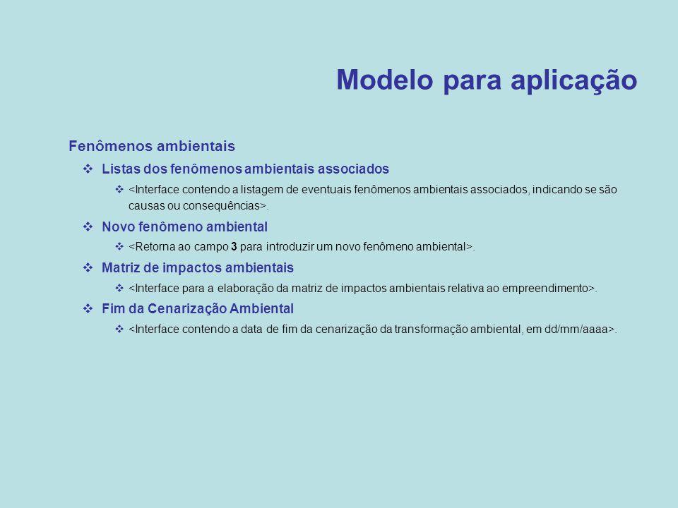 Modelo para aplicação Fenômenos ambientais
