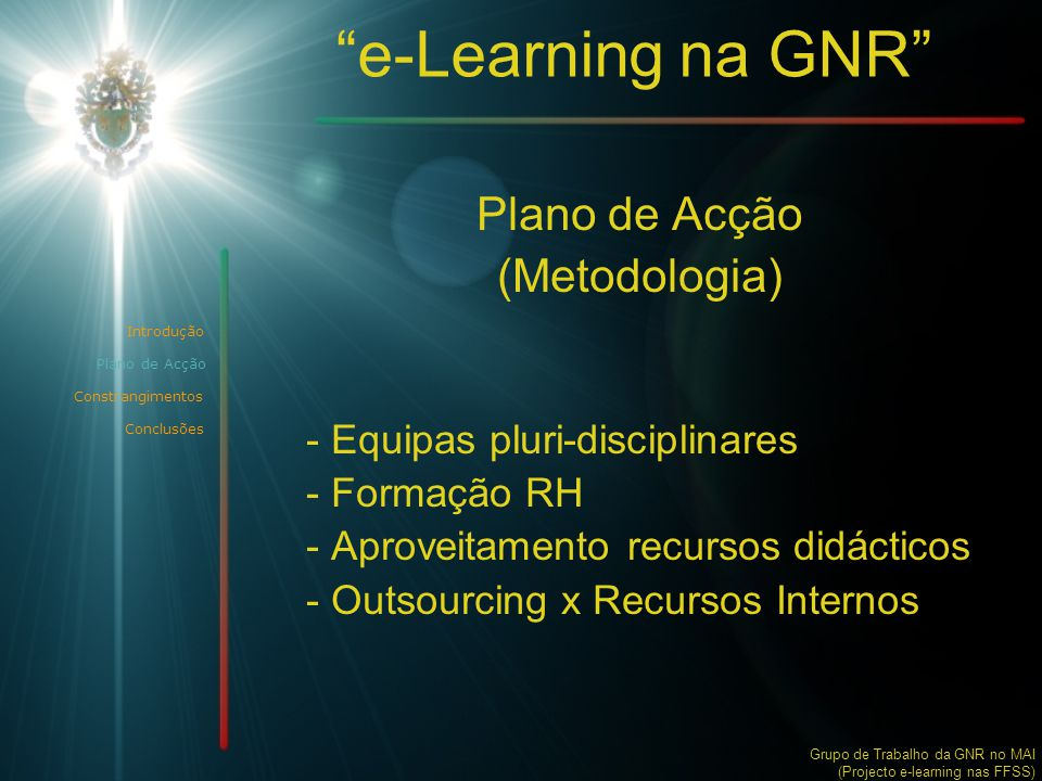 e-Learning na GNR Plano de Acção (Metodologia)
