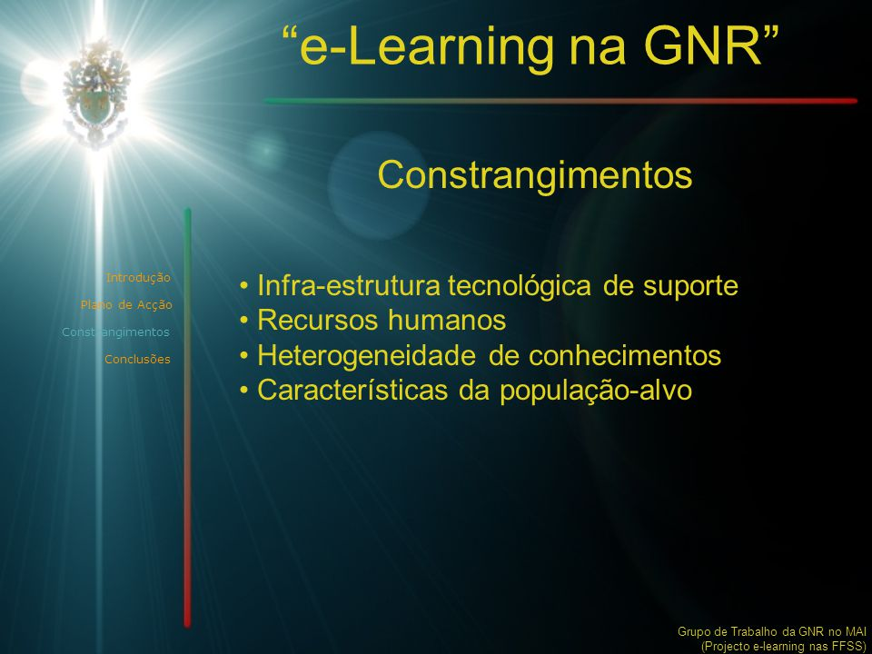 e-Learning na GNR Constrangimentos