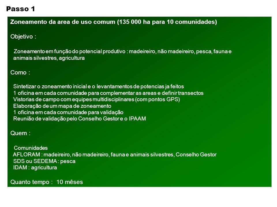 Passo 1 Zoneamento da area de uso comum (135 000 ha para 10 comunidades) Objetivo :