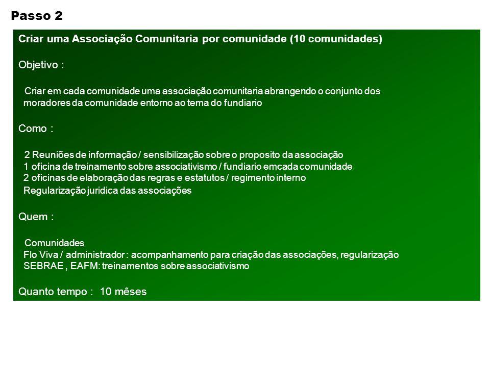 Passo 2 Criar uma Associação Comunitaria por comunidade (10 comunidades) Objetivo :