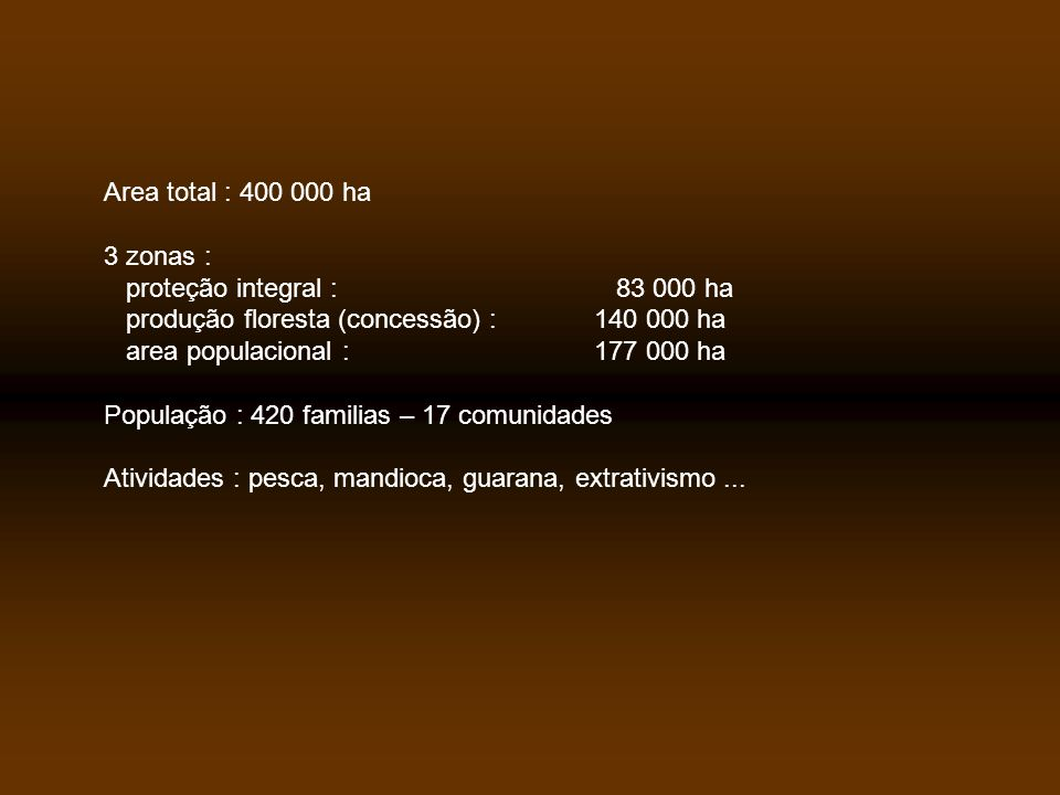 Area total : 400 000 ha 3 zonas : proteção integral : 83 000 ha. produção floresta (concessão) : 140 000 ha.