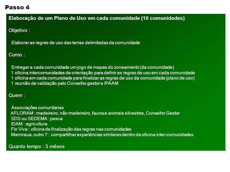 Passo 4 Elaboração de um Plano de Uso em cada comunidade (10 comunidades) Objetivo : Elaborar as regras de uso das terras delimitadas da comunidade.