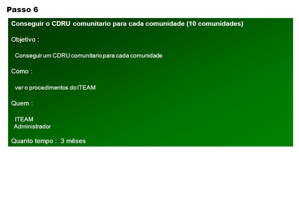 Passo 6 Conseguir o CDRU comunitario para cada comunidade (10 comunidades) Objetivo : Conseguir um CDRU comunitario para cada comunidade.