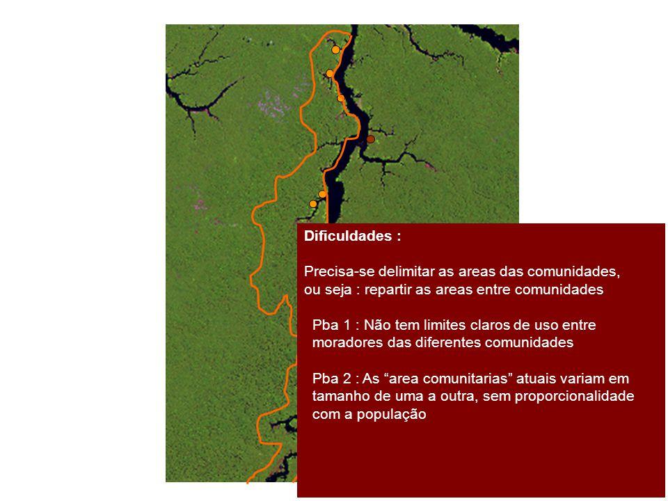 Dificuldades : Precisa-se delimitar as areas das comunidades, ou seja : repartir as areas entre comunidades.