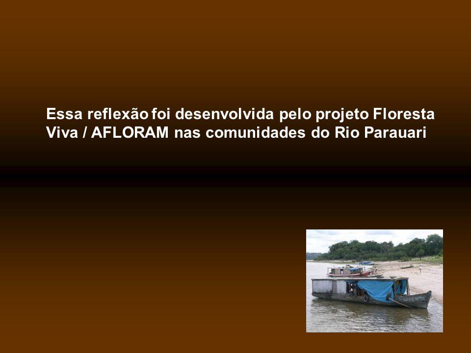 Essa reflexão foi desenvolvida pelo projeto Floresta Viva / AFLORAM nas comunidades do Rio Parauari
