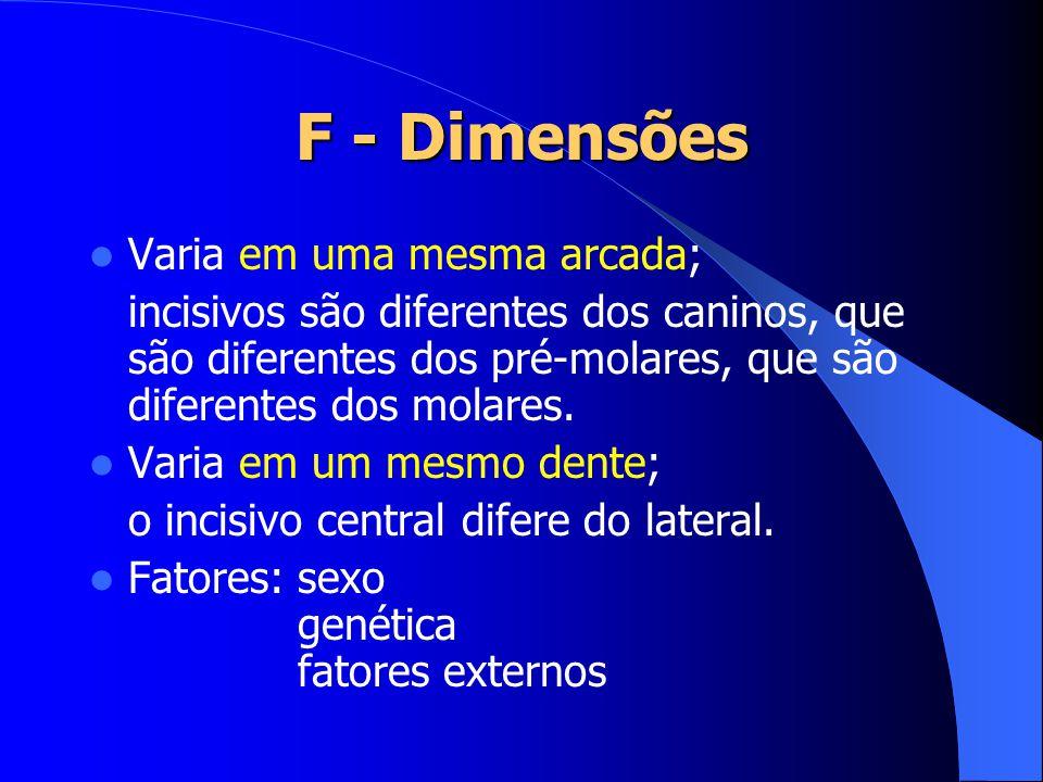 F - Dimensões Varia em uma mesma arcada;