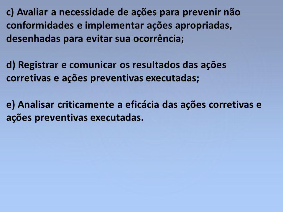 c) Avaliar a necessidade de ações para prevenir não conformidades e implementar ações apropriadas, desenhadas para evitar sua ocorrência;