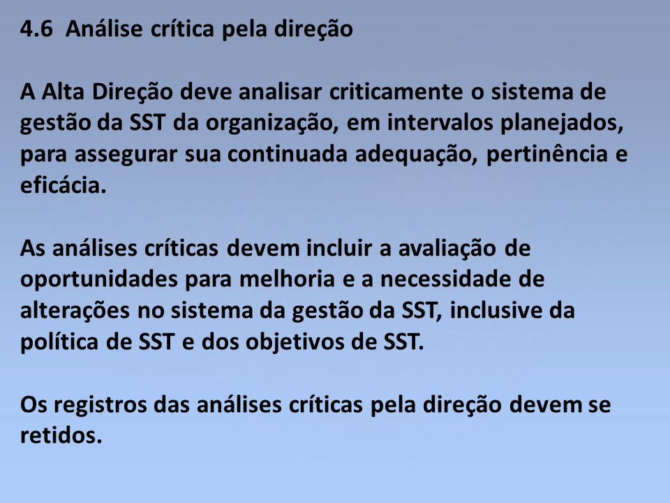 4.6 Análise crítica pela direção