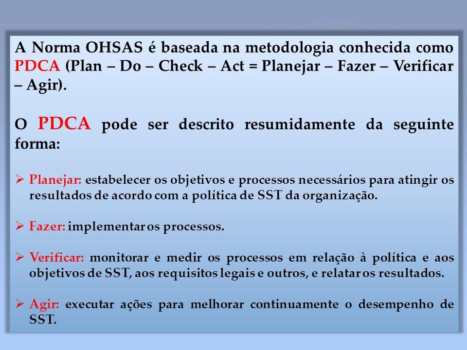 O PDCA pode ser descrito resumidamente da seguinte forma:
