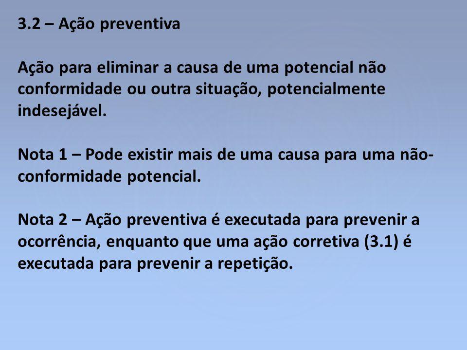 3.2 – Ação preventiva Ação para eliminar a causa de uma potencial não conformidade ou outra situação, potencialmente indesejável.