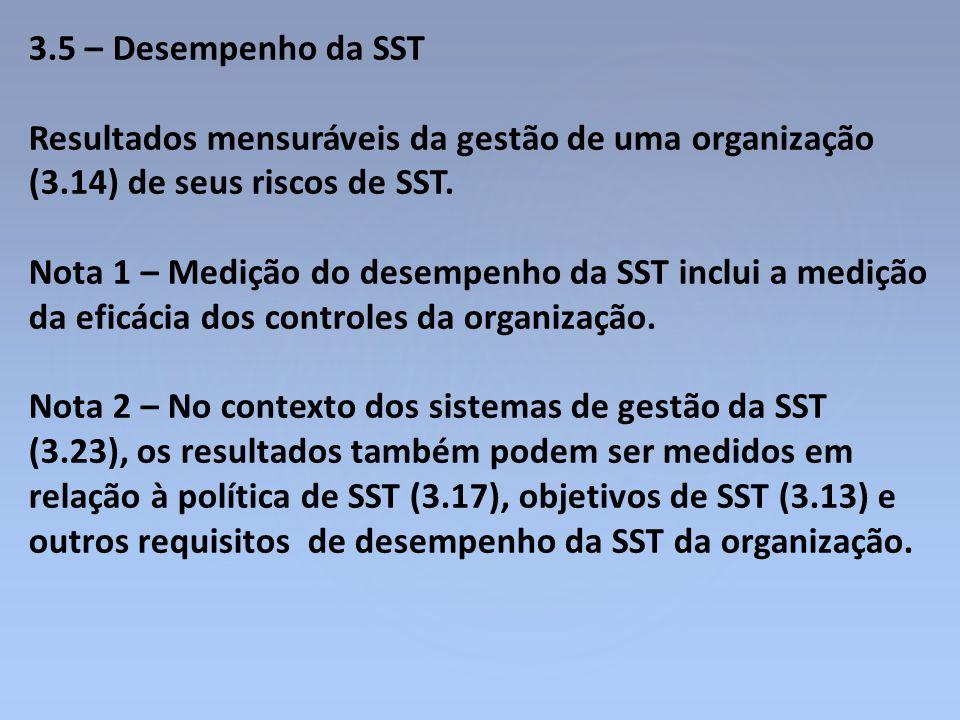 3.5 – Desempenho da SST Resultados mensuráveis da gestão de uma organização (3.14) de seus riscos de SST.
