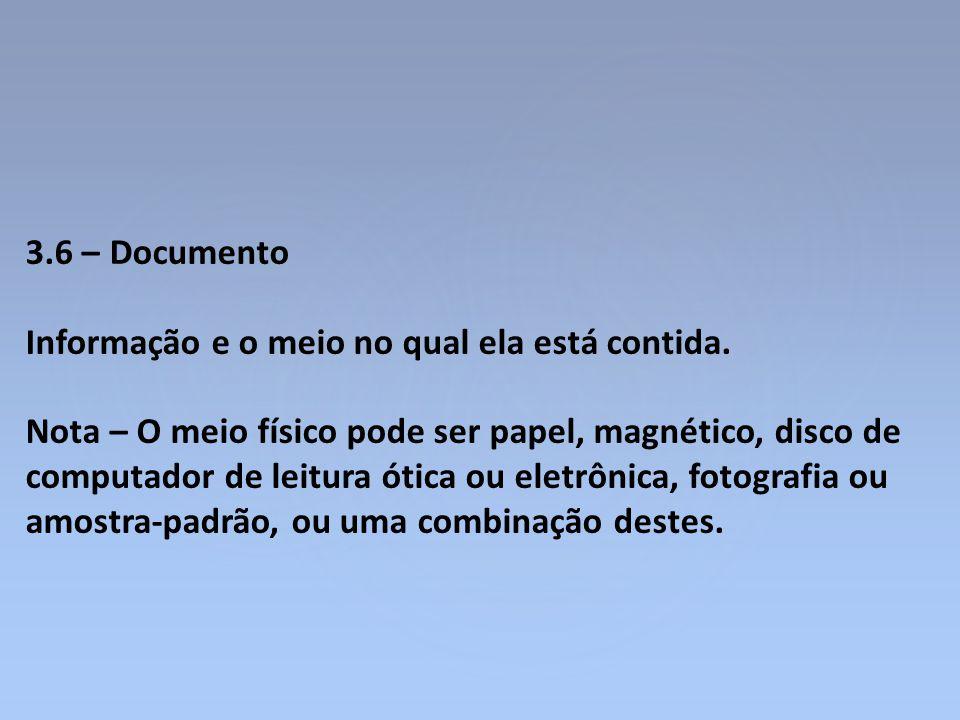 3.6 – Documento Informação e o meio no qual ela está contida.