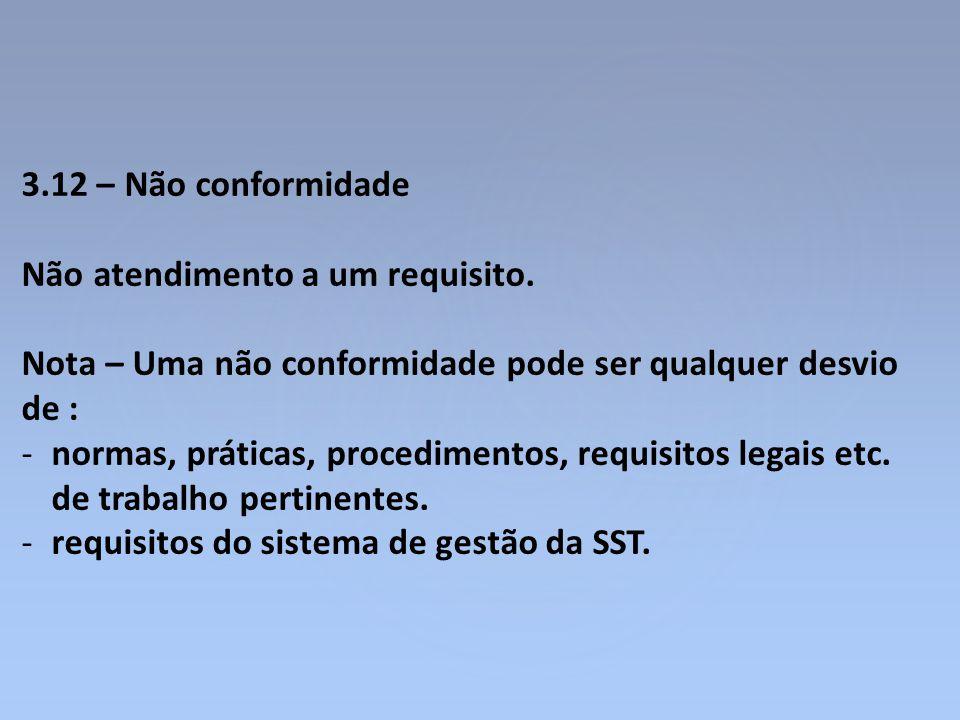 3.12 – Não conformidade Não atendimento a um requisito. Nota – Uma não conformidade pode ser qualquer desvio de :