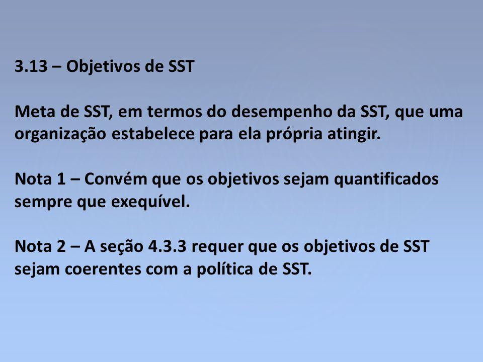 3.13 – Objetivos de SST Meta de SST, em termos do desempenho da SST, que uma organização estabelece para ela própria atingir.