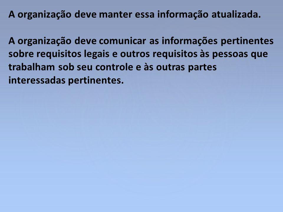 A organização deve manter essa informação atualizada.