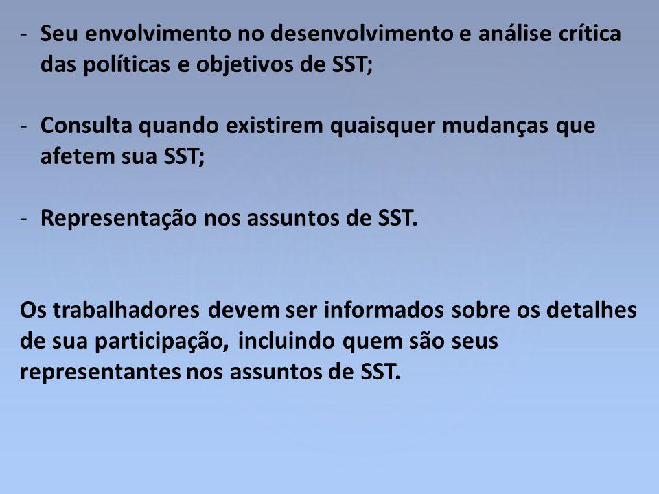 Seu envolvimento no desenvolvimento e análise crítica das políticas e objetivos de SST;