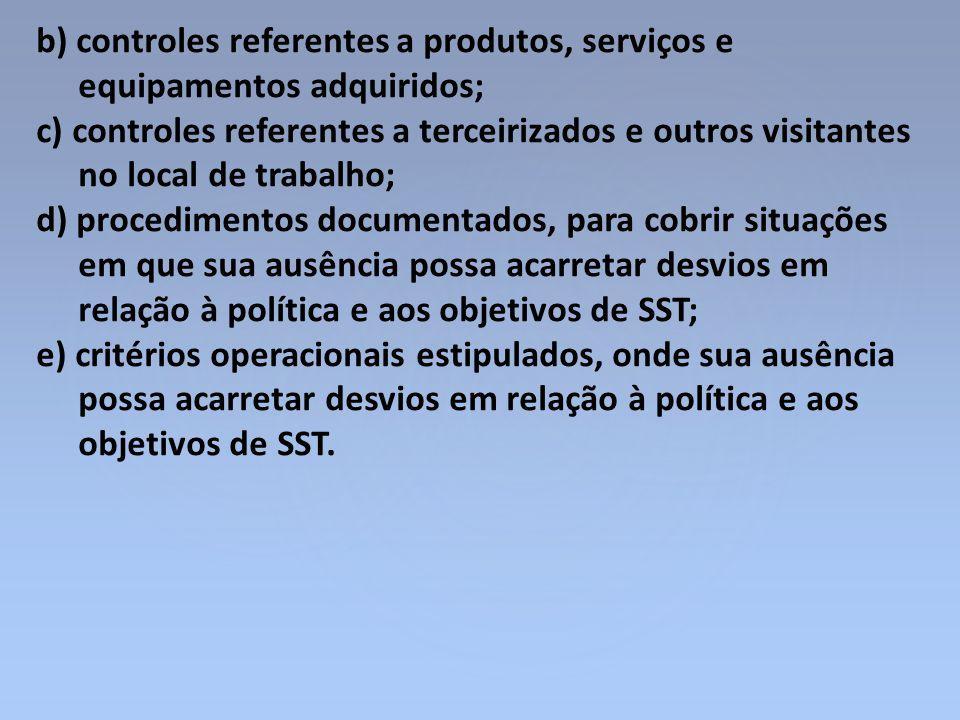 b) controles referentes a produtos, serviços e