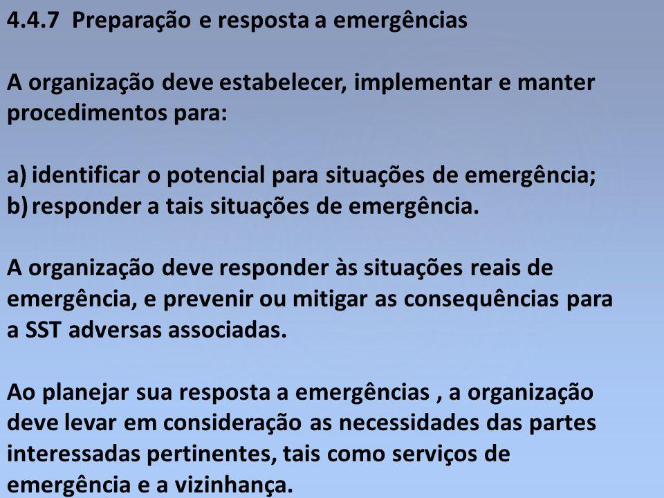4.4.7 Preparação e resposta a emergências