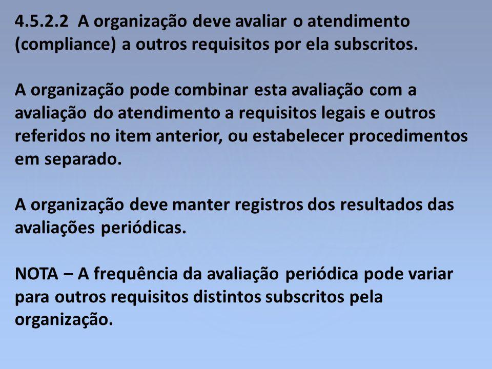 4.5.2.2 A organização deve avaliar o atendimento (compliance) a outros requisitos por ela subscritos.