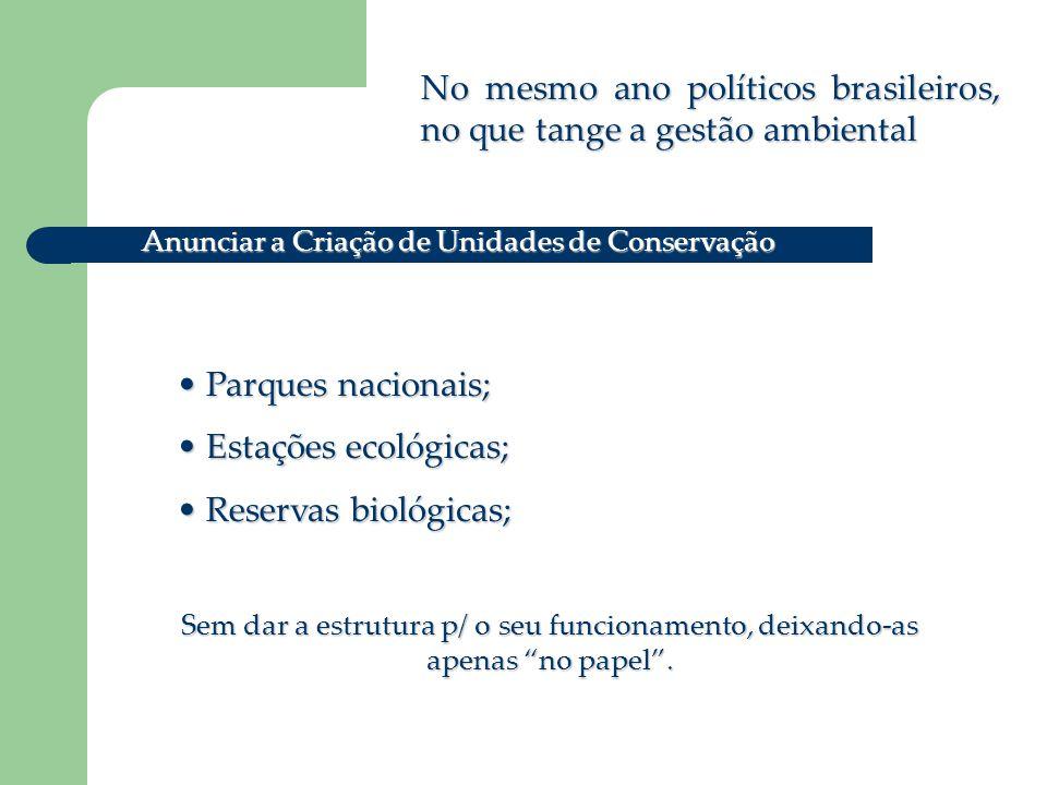 No mesmo ano políticos brasileiros, no que tange a gestão ambiental