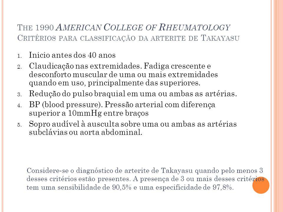 The 1990 American College of Rheumatology Critérios para classificação da arterite de Takayasu