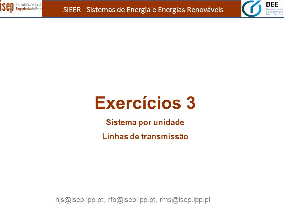 Exercícios 3 SIEER - Sistemas de Energia e Energias Renováveis