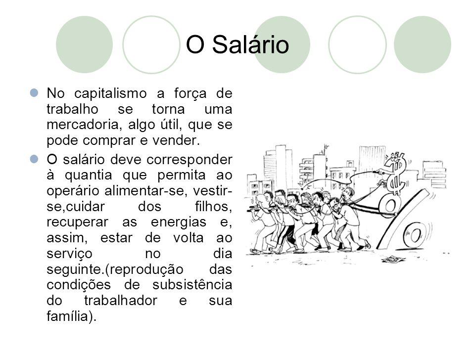 O Salário No capitalismo a força de trabalho se torna uma mercadoria, algo útil, que se pode comprar e vender.