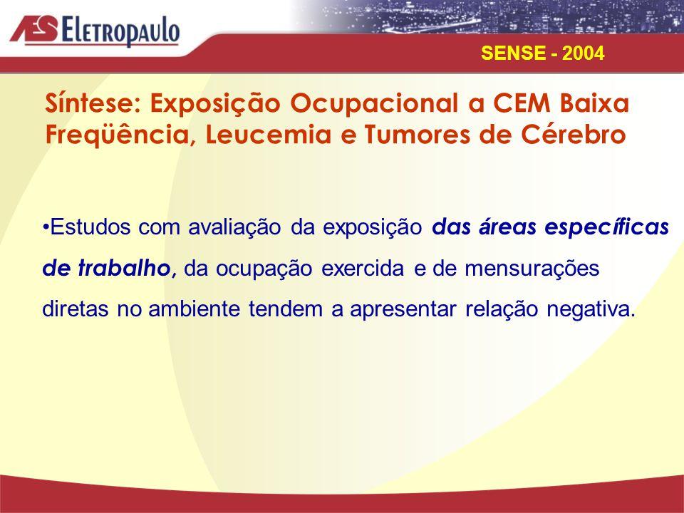 Síntese: Exposição Ocupacional a CEM Baixa Freqüência, Leucemia e Tumores de Cérebro