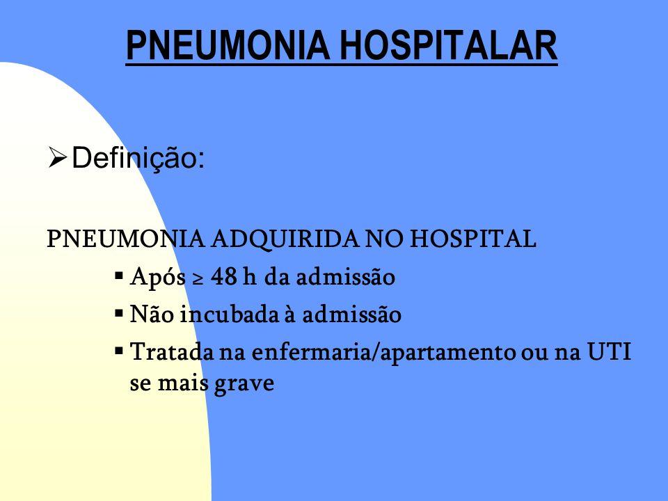 PNEUMONIA HOSPITALAR Definição: PNEUMONIA ADQUIRIDA NO HOSPITAL