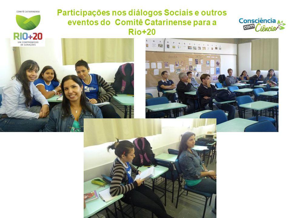 Participações nos diálogos Sociais e outros eventos do Comitê Catarinense para a Rio+20