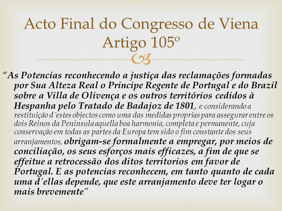 Acto Final do Congresso de Viena Artigo 105º