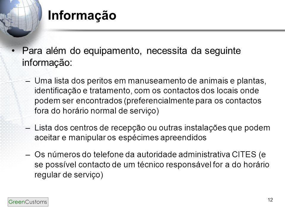 Informação Para além do equipamento, necessita da seguinte informação: