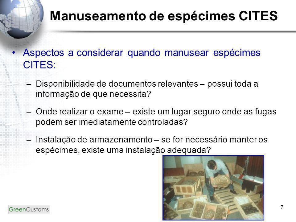 Manuseamento de espécimes CITES