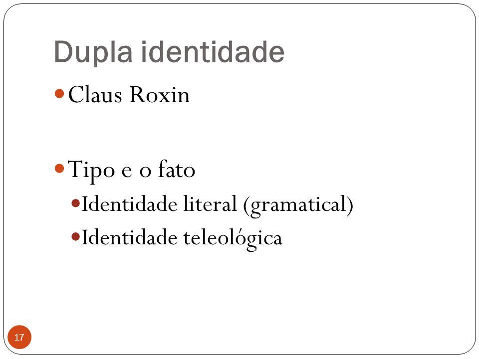 Dupla identidade Claus Roxin Tipo e o fato