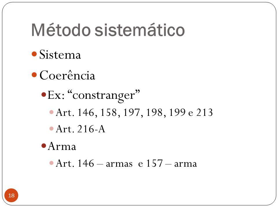 Método sistemático Sistema Coerência Ex: constranger Arma