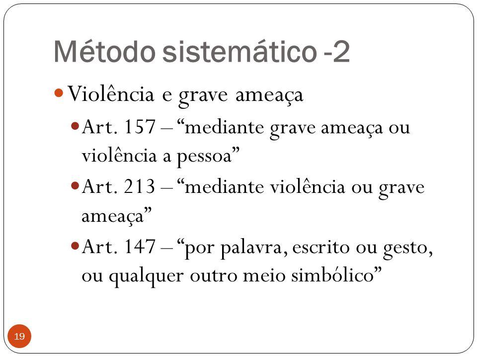 Método sistemático -2 Violência e grave ameaça